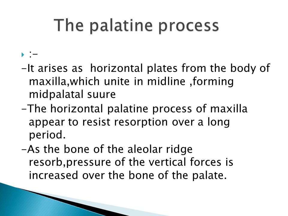  :- -It arises as horizontal plates from the body of maxilla,which unite in midline,forming midpalatal suure -The horizontal palatine process of maxilla appear to resist resorption over a long period.
