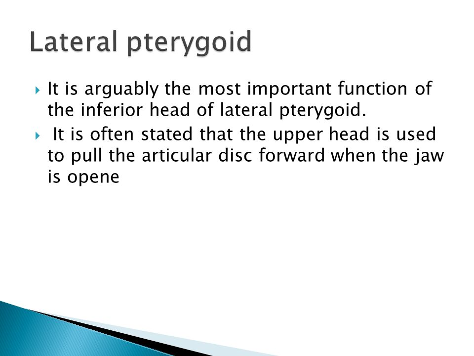  It is arguably the most important function of the inferior head of lateral pterygoid.
