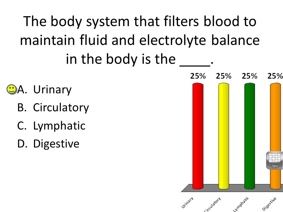 The body system that filters blood to maintain fluid and electrolyte balance in the body is the ____. A.Urinary B.Circulatory C.Lymphatic D.Digestive