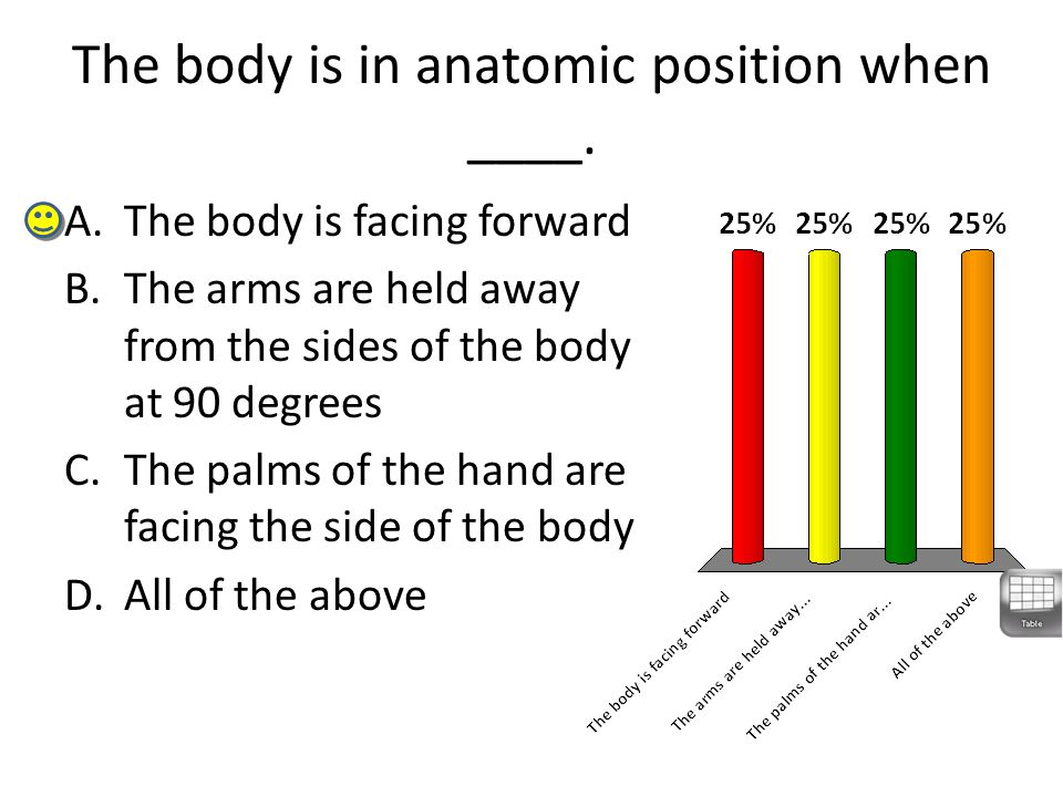 The body is in anatomic position when ____. A.The body is facing forward B.The arms are held away from the sides of the body at 90 degrees C.The palms