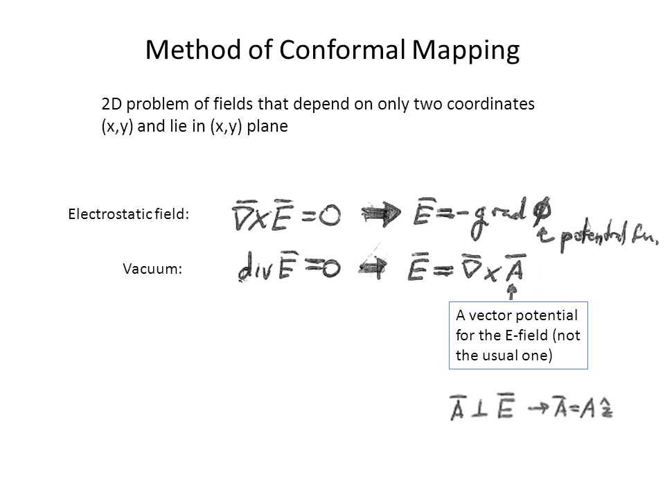 Method of Conformal Mapping 2D problem of fields that depend on only two coordinates (x,y) and lie in (x,y) plane Electrostatic field: Vacuum: A vector potential for the E-field (not the usual one)