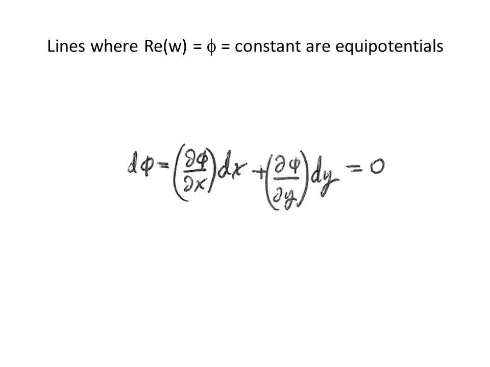 Lines where Re(w) =  = constant are equipotentials