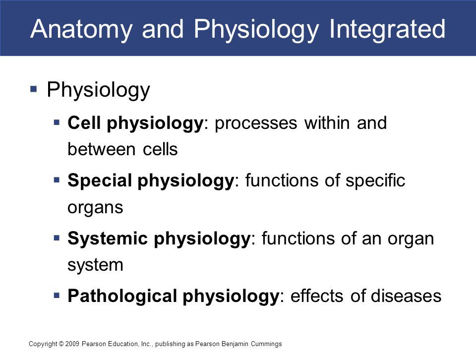 Copyright © 2009 Pearson Education, Inc., publishing as Pearson Benjamin Cummings Anatomy and Physiology Integrated  Physiology  Cell physiology: processes within and between cells  Special physiology: functions of specific organs  Systemic physiology: functions of an organ system  Pathological physiology: effects of diseases