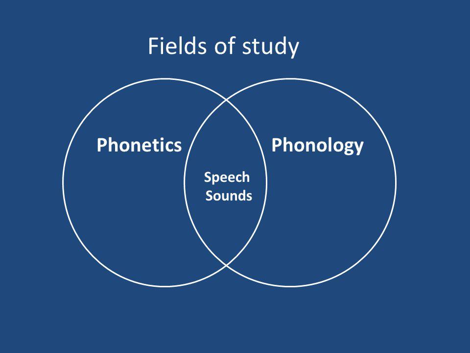 Fields of study Speech Sounds PhoneticsPhonology