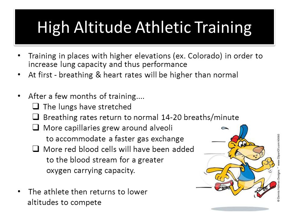 High Altitude Athletic Training Training in places with higher elevations (ex. Colorado) in order to increase lung capacity and thus performance At fi