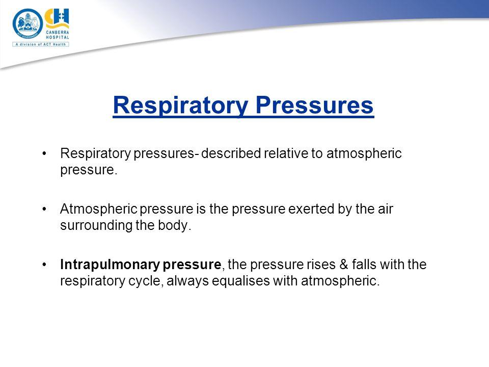 Respiratory Pressures Respiratory pressures- described relative to atmospheric pressure. Atmospheric pressure is the pressure exerted by the air surro