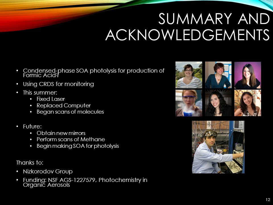 SUMMARY AND ACKNOWLEDGEMENTS Condensed-phase SOA photolysis for production of Formic Acid? Using CRDS for monitoring This summer: Fixed Laser Replaced
