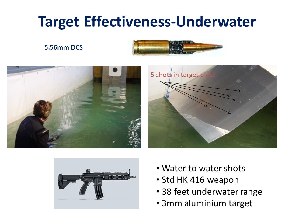 Target Effectiveness-Underwater 5.56mm DCS 5 shots in target plate Water to water shots Std HK 416 weapon 38 feet underwater range 3mm aluminium targe