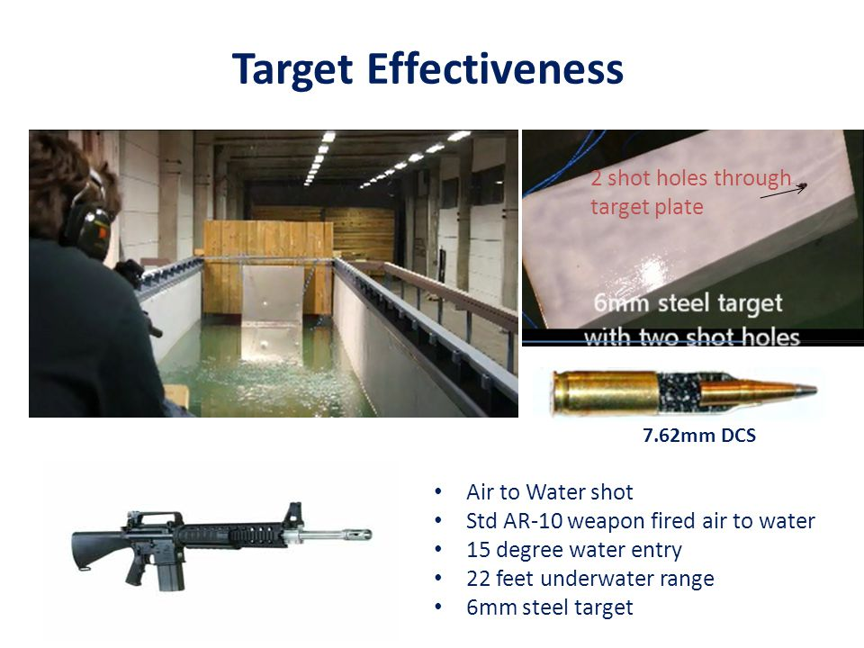 Target Effectiveness 7.62mm DCS Air to Water shot Std AR-10 weapon fired air to water 15 degree water entry 22 feet underwater range 6mm steel target