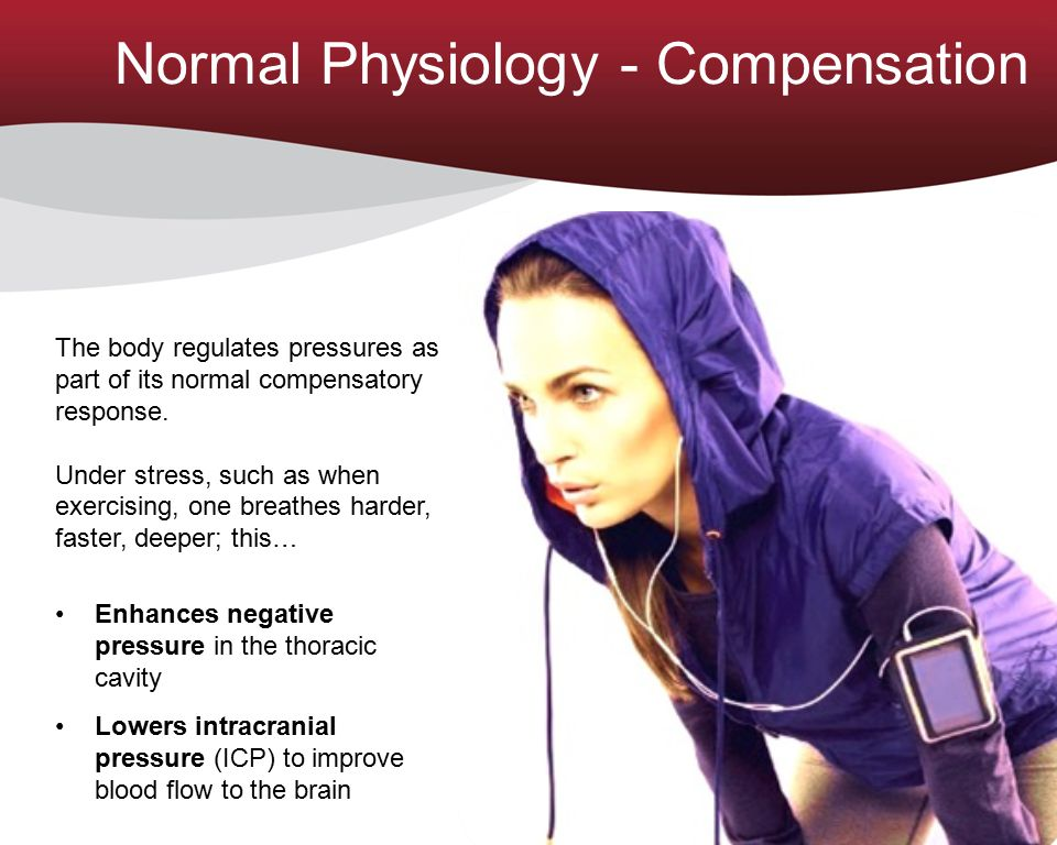 Normal Physiology - Compensation The body regulates pressures as part of its normal compensatory response. Under stress, such as when exercising, one