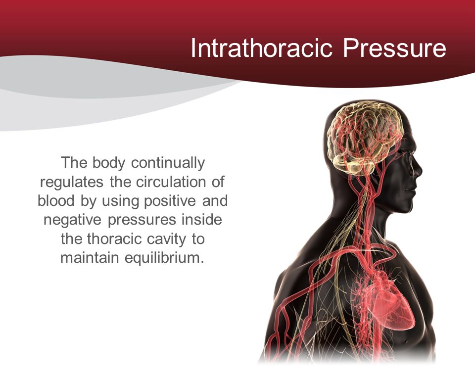 Intrathoracic Pressure The body continually regulates the circulation of blood by using positive and negative pressures inside the thoracic cavity to