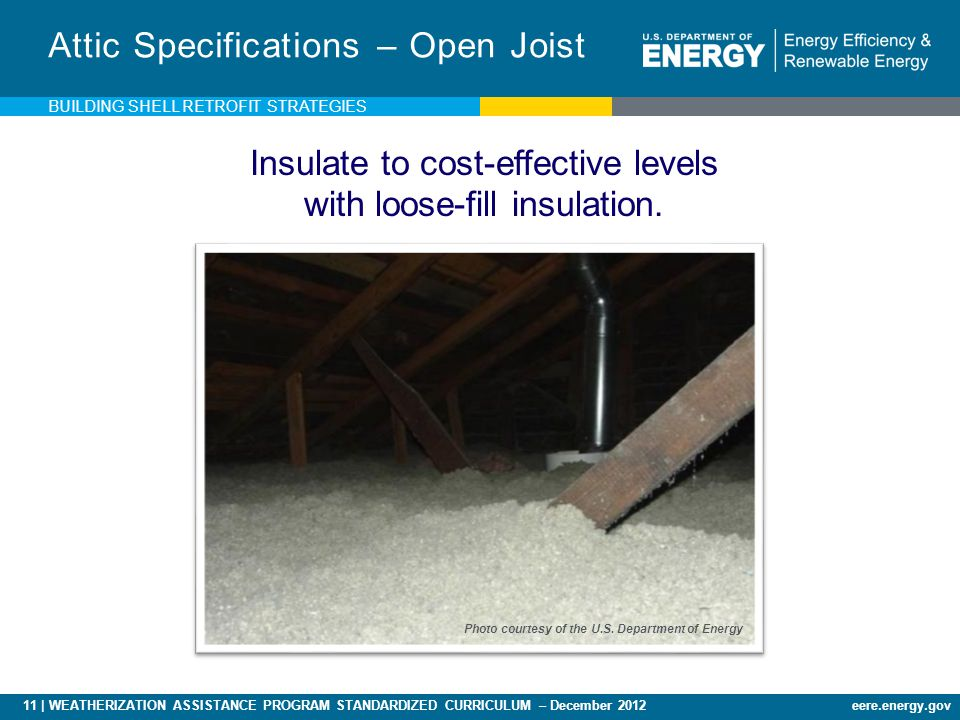 11 | WEATHERIZATION ASSISTANCE PROGRAM STANDARDIZED CURRICULUM – December 2012eere.energy.gov Attic Specifications – Open Joist Insulate to cost-effective levels with loose-fill insulation.