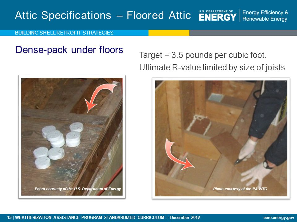 15 | WEATHERIZATION ASSISTANCE PROGRAM STANDARDIZED CURRICULUM – December 2012eere.energy.gov Attic Specifications – Floored Attic Target = 3.5 pounds per cubic foot.