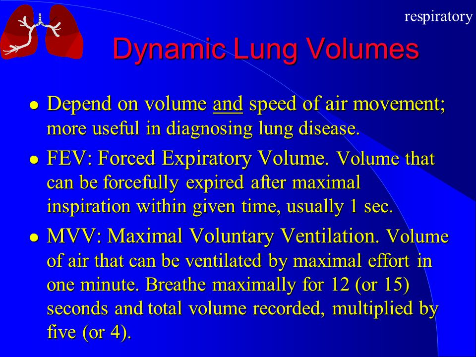 respiratory Dynamic Lung Volumes Depend on volume and speed of air movement; more useful in diagnosing lung disease. Depend on volume and speed of air