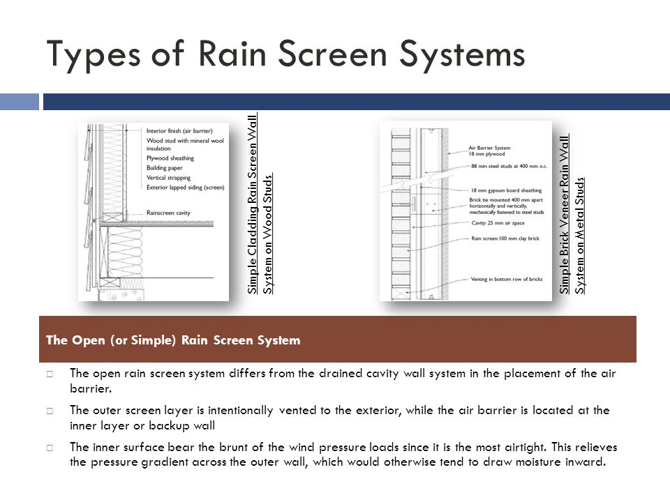 Types of Rain Screen Systems  The open rain screen system differs from the drained cavity wall system in the placement of the air barrier.