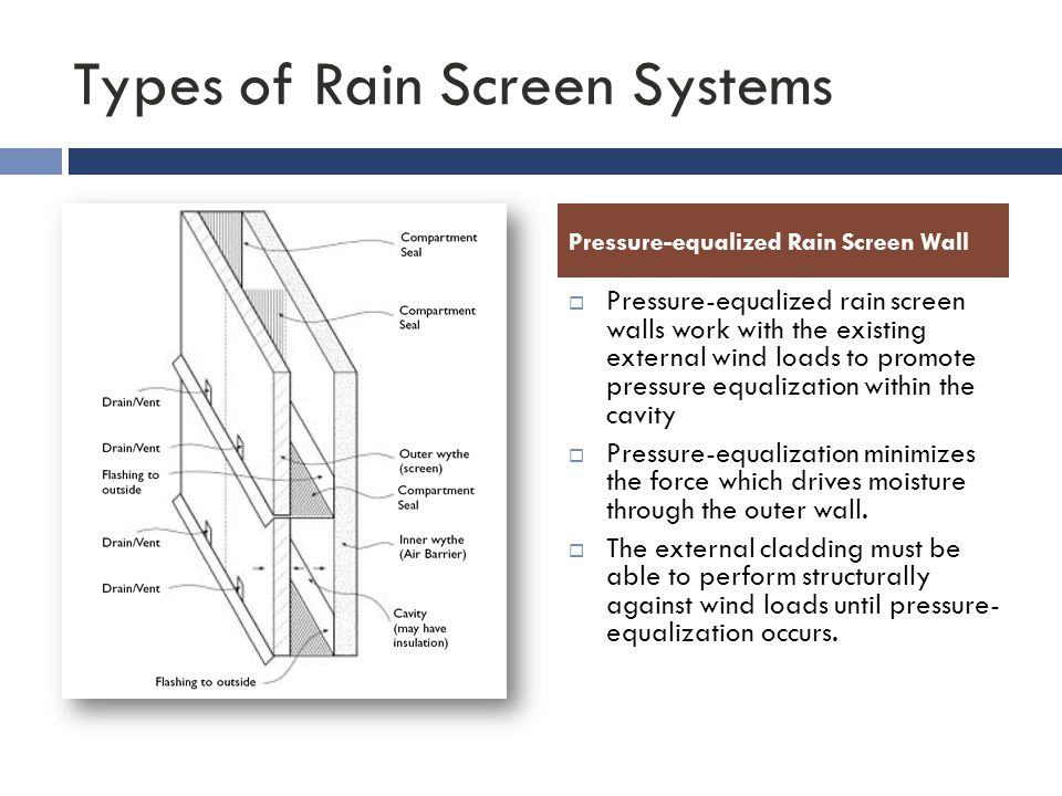 Types of Rain Screen Systems  Pressure-equalized rain screen walls work with the existing external wind loads to promote pressure equalization within the cavity  Pressure-equalization minimizes the force which drives moisture through the outer wall.