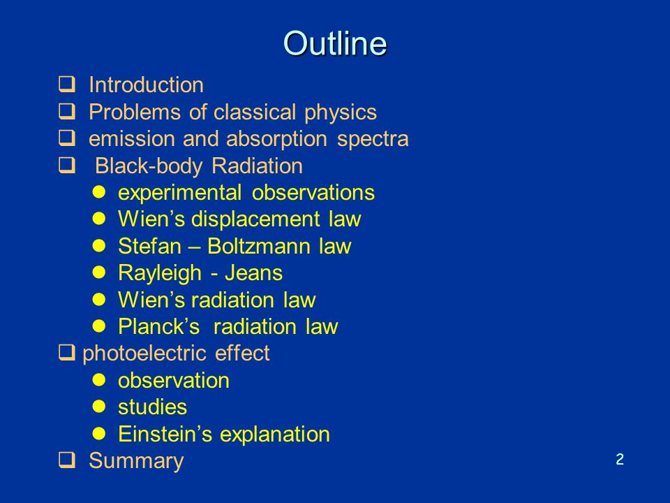 2 Outline  Introduction  Problems of classical physics  emission and absorption spectra  Black-body Radiation l experimental observations l Wien's