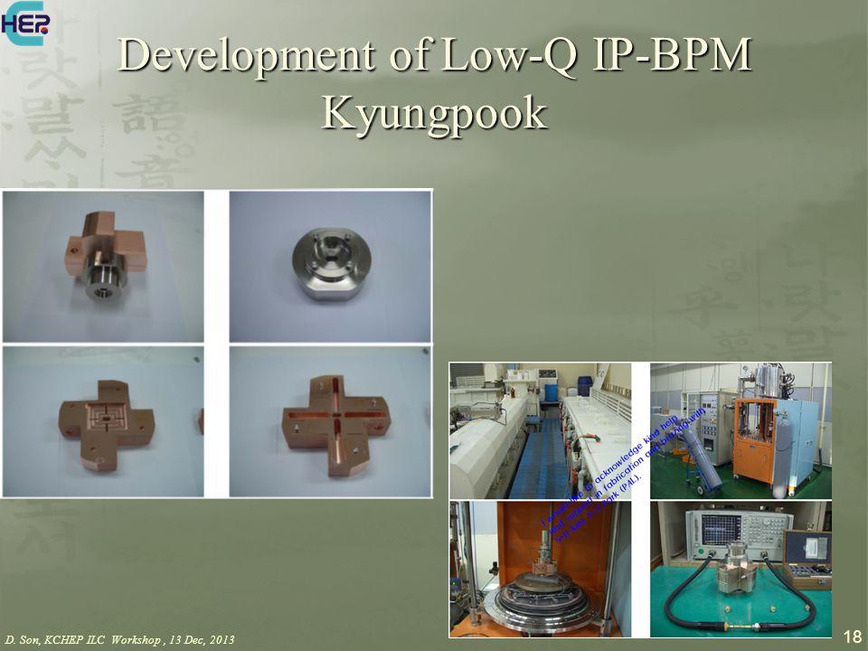 D. Son, KCHEP ILC Workshop, 13 Dec, 2013 18 Development of Low-Q IP-BPM Kyungpook