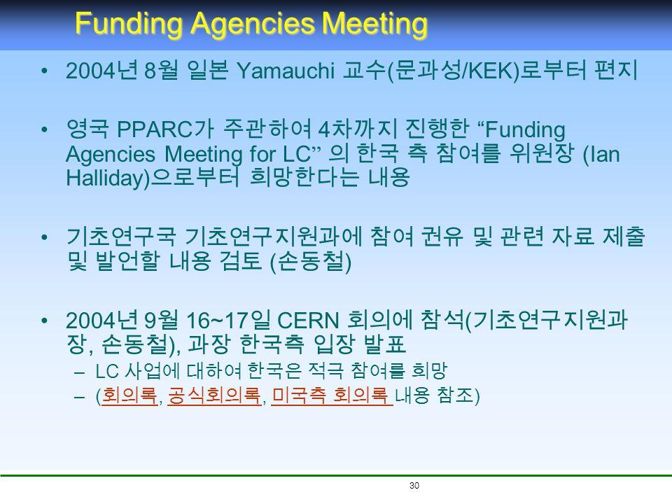 30 Funding Agencies Meeting 2004 년 8 월 일본 Yamauchi 교수 ( 문과성 /KEK) 로부터 편지 영국 PPARC 가 주관하여 4 차까지 진행한 Funding Agencies Meeting for LC 의 한국 측 참여를 위원장 (Ian Halliday) 으로부터 희망한다는 내용 기초연구국 기초연구지원과에 참여 권유 및 관련 자료 제출 및 발언할 내용 검토 ( 손동철 ) 2004 년 9 월 16~17 일 CERN 회의에 참석 ( 기초연구지원과 장, 손동철 ), 과장 한국측 입장 발표 –LC 사업에 대하여 한국은 적극 참여를 희망 –( 회의록, 공식회의록, 미국측 회의록 내용 참조 ) 회의록 공식회의록 미국측 회의록