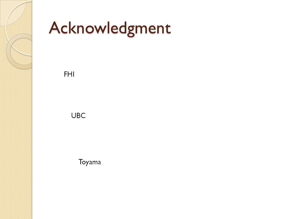 Acknowledgment FHI UBC Toyama