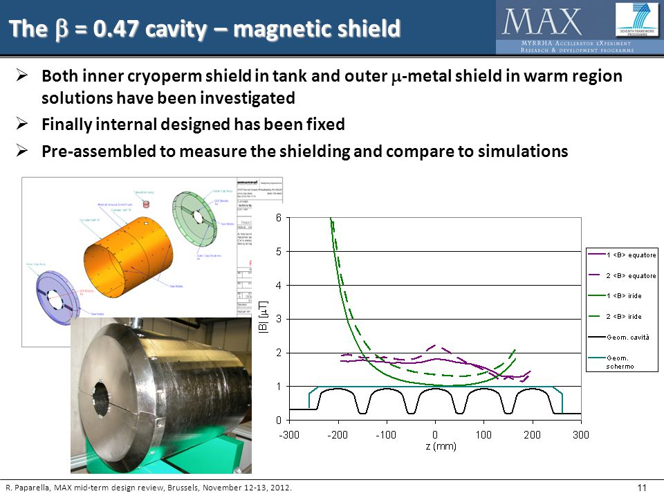 11 The  = 0.47 cavity – magnetic shield  Both inner cryoperm shield in tank and outer  -metal shield in warm region solutions have been investigated  Finally internal designed has been fixed  Pre-assembled to measure the shielding and compare to simulations R.