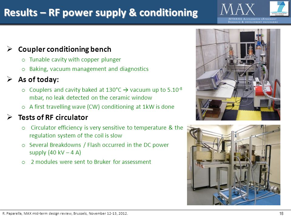 18 Results – RF power supply & conditioning R.