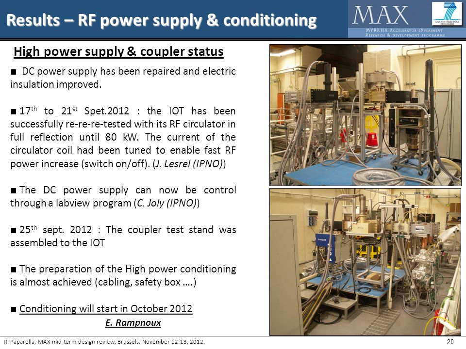 20 Results – RF power supply & conditioning R.