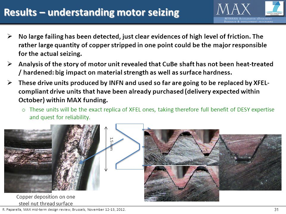 31 Results – understanding motor seizing R. Paparella, MAX mid-term design review, Brussels, November 12-13, 2012.  No large failing has been detecte