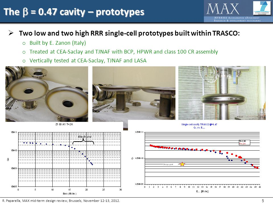 5 The  = 0.47 cavity – prototypes  Two low and two high RRR single-cell prototypes built within TRASCO: o Built by E.