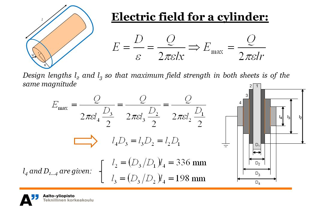 Electric field for a cylinder: r R U r U l Design lengths l 2 and l 3 so that maximum field strength in both sheets is of the same magnitude l 4 and D