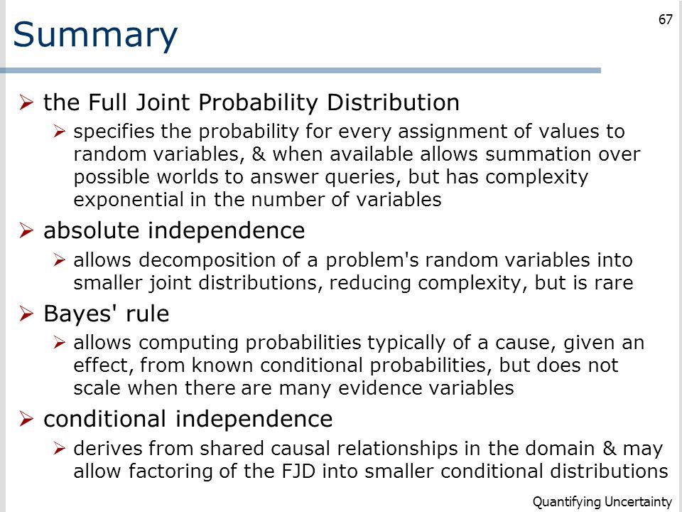 Summary  the Full Joint Probability Distribution  specifies the probability for every assignment of values to random variables, & when available all