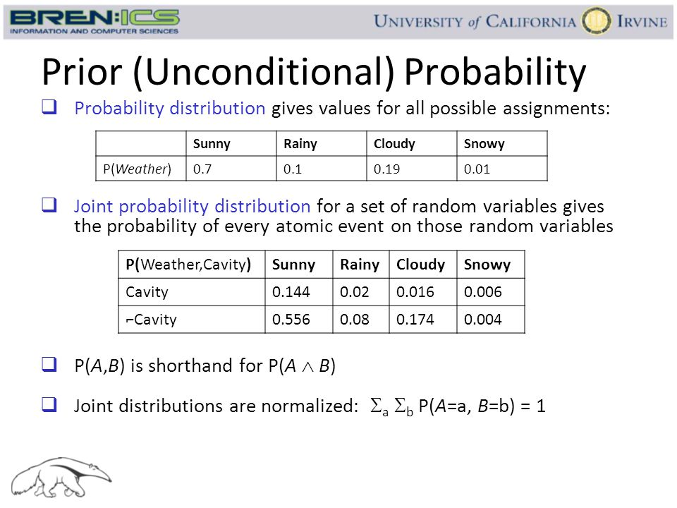 Prior (Unconditional) Probability  Probability distribution gives values for all possible assignments:  Joint probability distribution for a set of