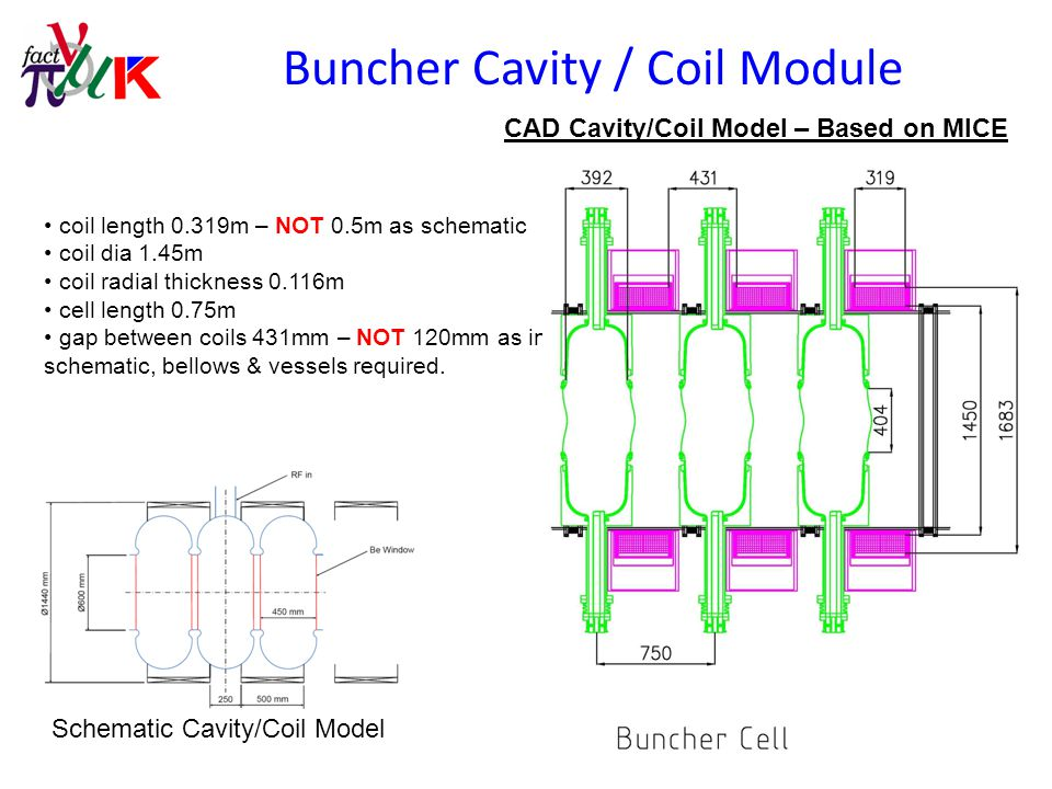 Buncher Schematic Layout CAD Layout based on MICE cavities