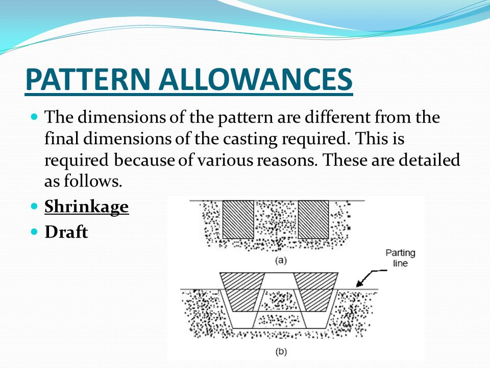PATTERN ALLOWANCES The dimensions of the pattern are different from the final dimensions of the casting required.
