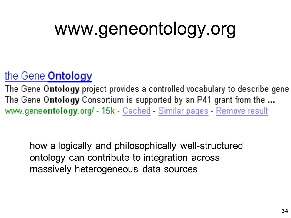 34 www.geneontology.org how a logically and philosophically well-structured ontology can contribute to integration across massively heterogeneous data sources