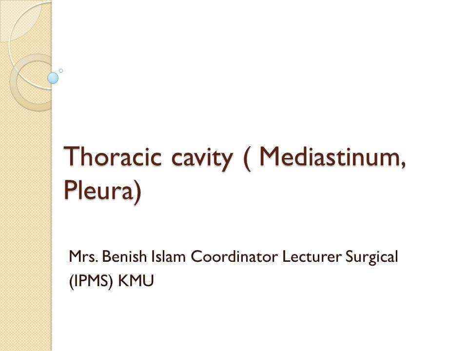 Thoracic cavity ( Mediastinum, Pleura) Mrs. Benish Islam Coordinator Lecturer Surgical (IPMS) KMU