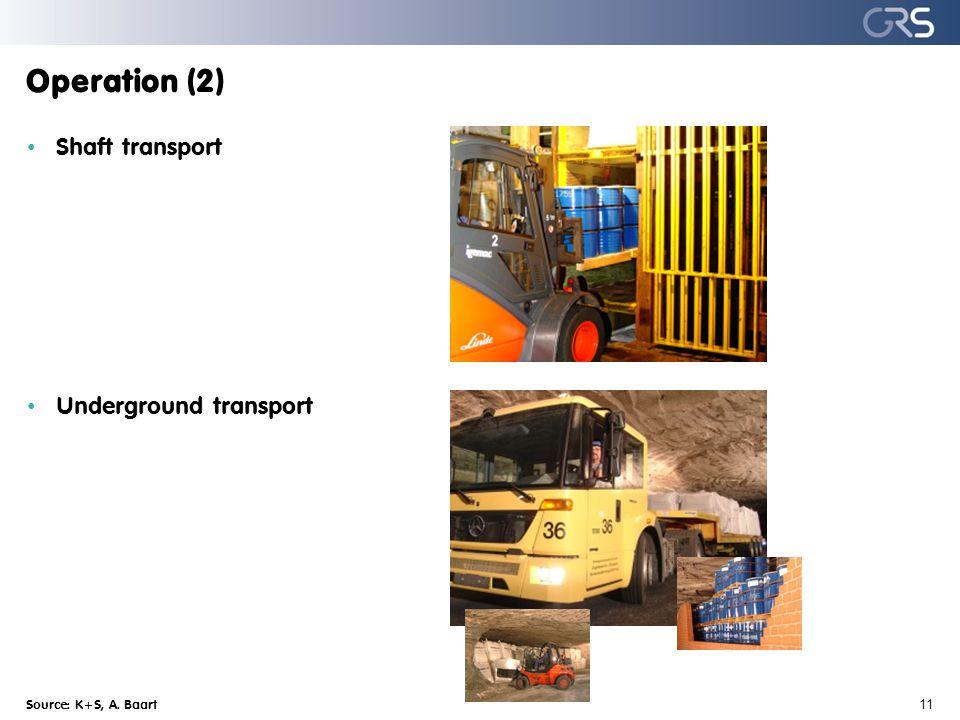 Operation (2) Source: K+S, A. Baart 11 Shaft transport Underground transport