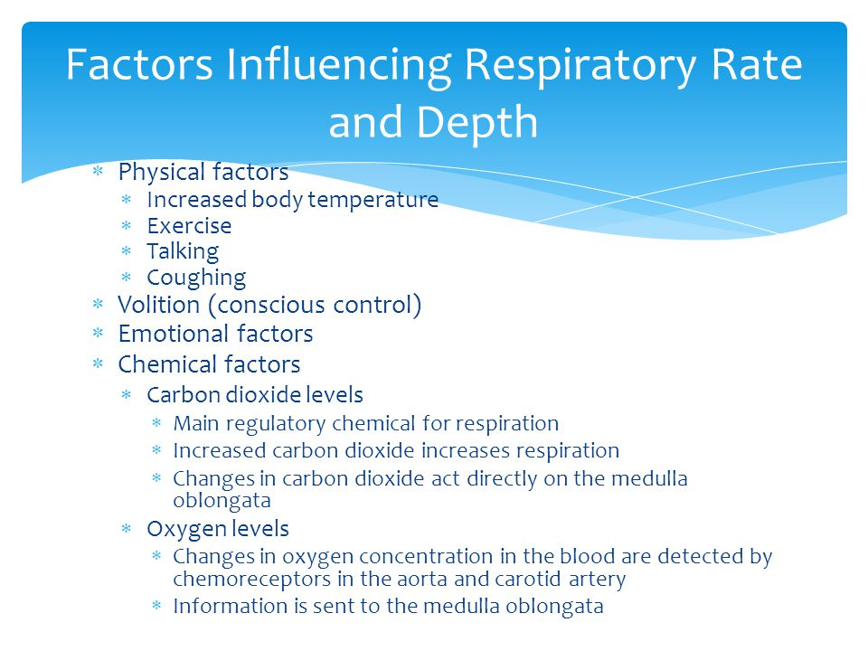  Physical factors  Increased body temperature  Exercise  Talking  Coughing  Volition (conscious control)  Emotional factors  Chemical factors