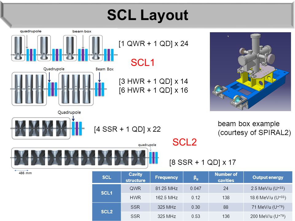 SCL Layout [1 QWR + 1 QD] x 24 [3 HWR + 1 QD] x 14 [6 HWR + 1 QD] x 16 [4 SSR + 1 QD] x 22 SCL Cavity structure Frequencyβgβg Number of cavities Outpu