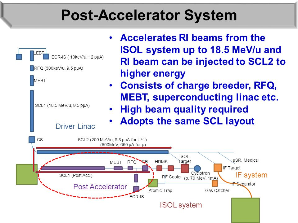 Post-Accelerator System ECR-IS ( 10keV/u, 12 pμA) LEBT RFQ (300keV/u, 9.5 pμA) MEBT SCL1 (18.5 MeV/u, 9.5 pμA) SCL2 (200 MeV/u, 8.3 pμA for U +79 ) (600MeV, 660 μA for p) SCL1 (Post Acc.) ECR-IS RFQ MEBT CB HRMS RF Cooler ISOL Target Cyclotron (p, 70 MeV, 1mA) IF Target IF Separator CS Driver Linac Post Accelerator IF system ISOL system μSR, Medical Atomic Trap Gas Catcher Accelerates RI beams from the ISOL system up to 18.5 MeV/u and RI beam can be injected to SCL2 to higher energy Consists of charge breeder, RFQ, MEBT, superconducting linac etc.