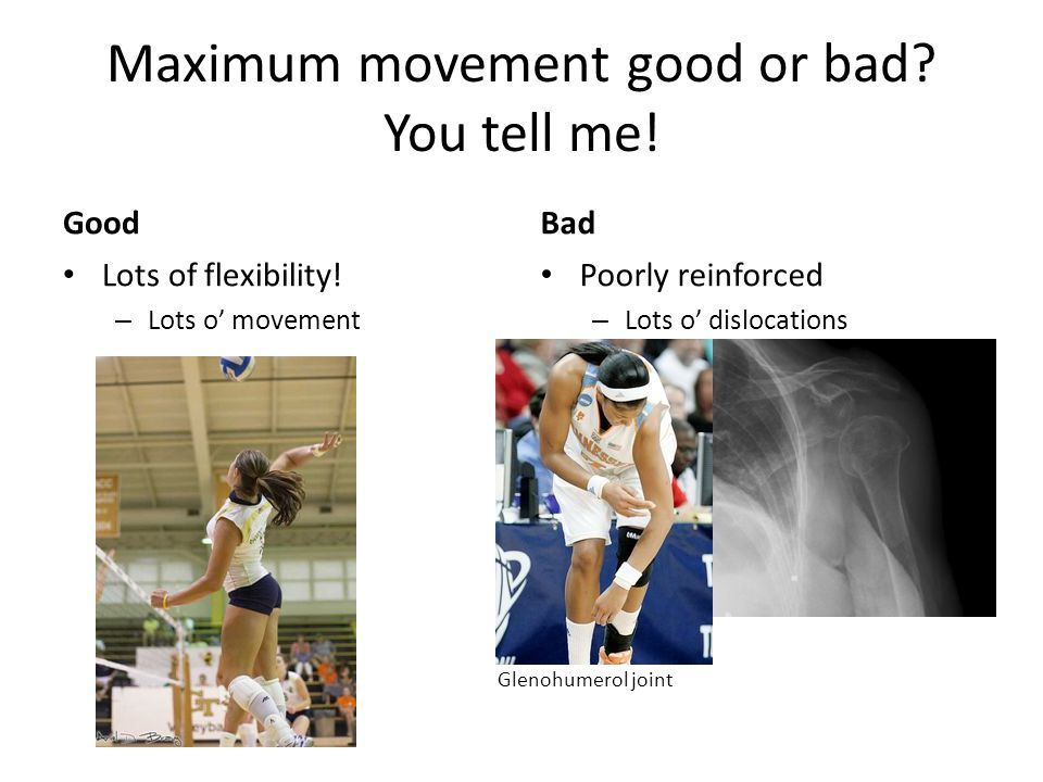 Maximum movement good or bad. You tell me. Good Lots of flexibility.