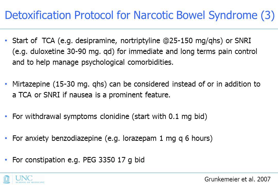 Start of TCA (e.g.desipramine, nortriptyline @25-150 mg/qhs) or SNRI (e.g.