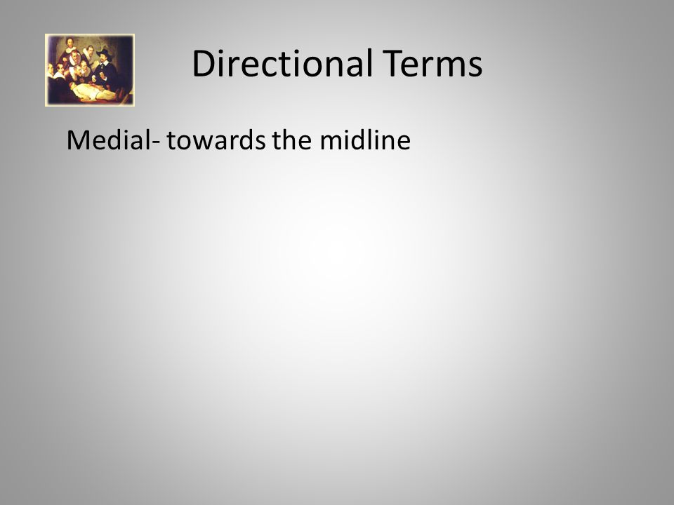 Directional Terms Medial- towards the midline