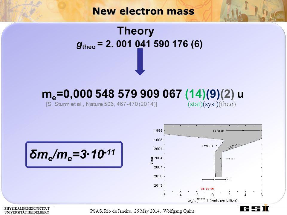 PSAS, Rio de Janeiro, 26 May 2014, Wolfgang Quint PHYSIKALISCHES INSTITUT UNIVERSITÄT HEIDELBERG New electron mass m e =0,000 548 579 909 067 (14)(9)(2) u (stat)(syst)(theo) δm e /m e =3∙10 -11 g theo = 2.