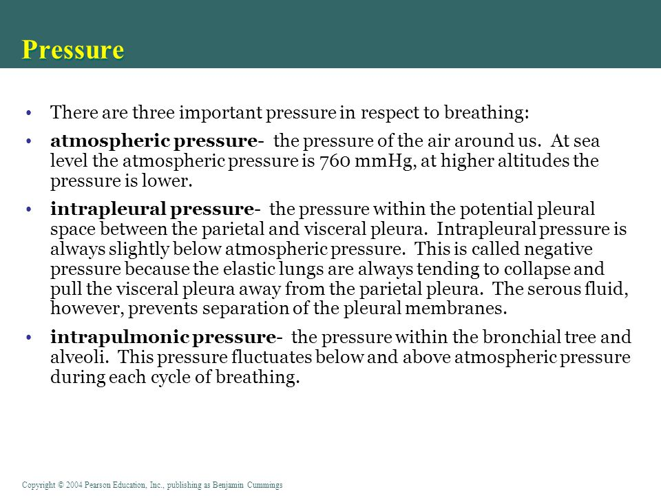 Copyright © 2004 Pearson Education, Inc., publishing as Benjamin Cummings Pressure There are three important pressure in respect to breathing: atmosph