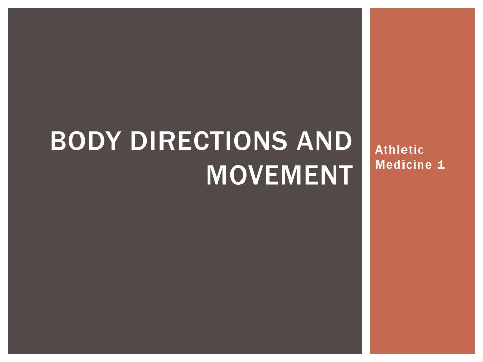 Athletic Medicine 1 BODY DIRECTIONS AND MOVEMENT