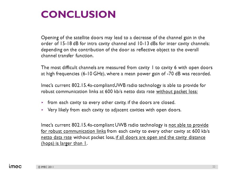 © IMEC 2011 CONCLUSION Opening of the satellite doors may lead to a decrease of the channel gain in the order of 15-18 dB for intra cavity channel and