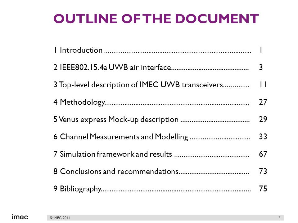 © IMEC 2011 OUTLINE OF THE DOCUMENT 1 Introduction.................................................................................1 2 IEEE802.15.4a UWB air interface...........................................