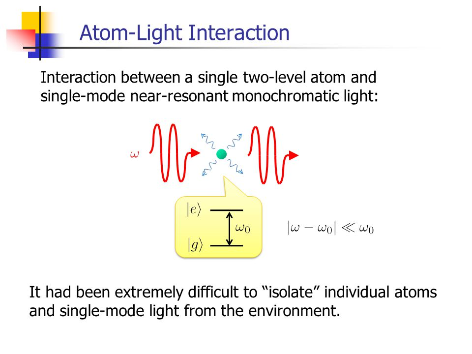 Interaction of Light and a Single Atom in Free Space Resonant scattering cross section in the weak-driving limit To control only the atom: Just use strong enough light.