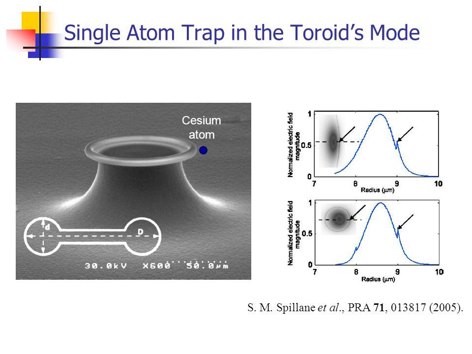 Single Atom Trap in the Toroid's Mode Cesium atom S. M. Spillane et al., PRA 71, 013817 (2005).
